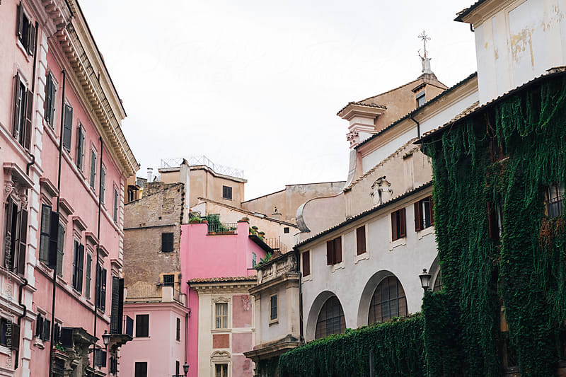 Pastel and Pink Houses and Buildings  by Katarina Radovic for Stocksy United