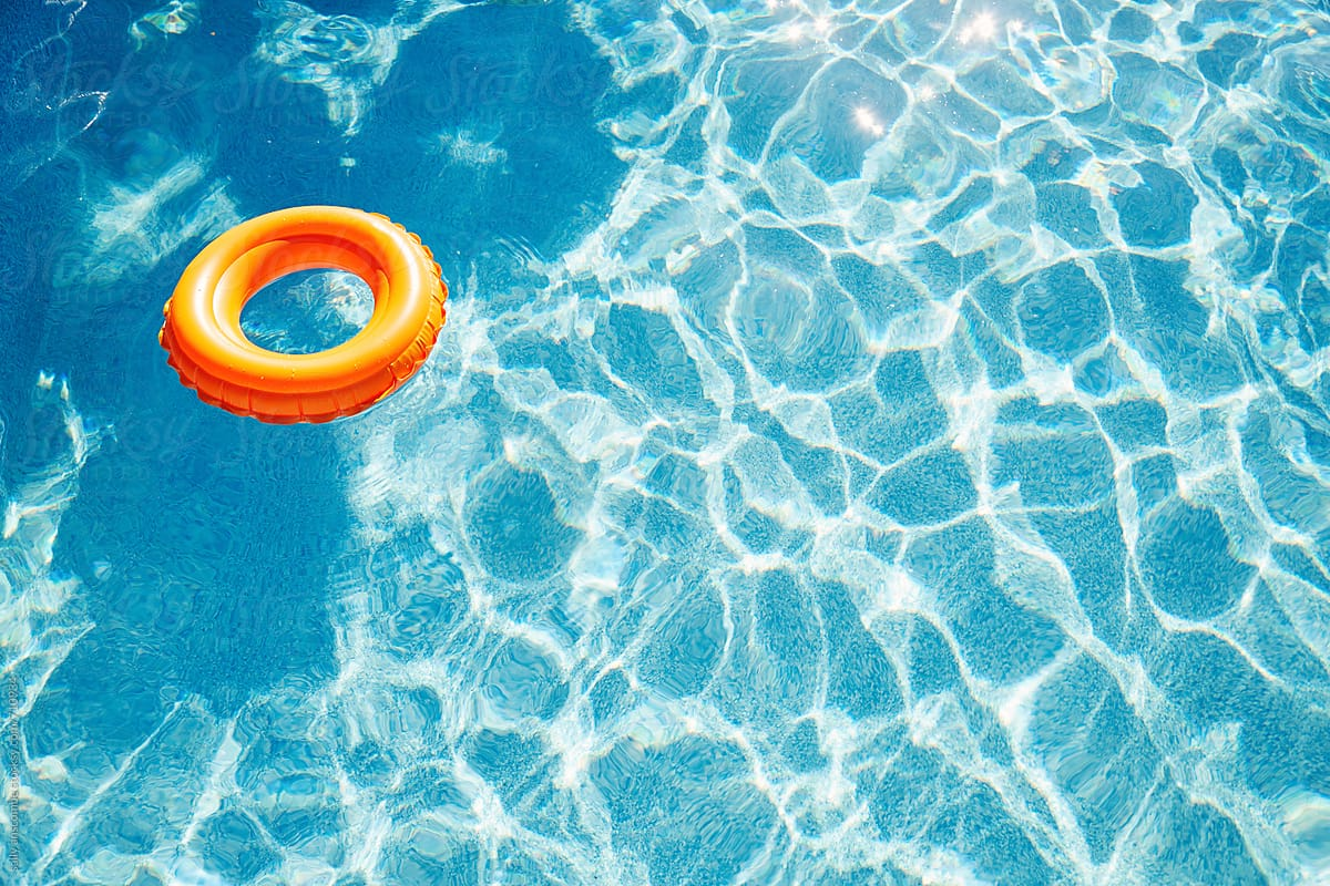 Inflatable rubber ring in a swimming pool by sally anscombe ...
