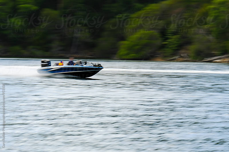 Speeding Boat on Mallacoota Inlet by Gary Radler Photography for Stocksy United