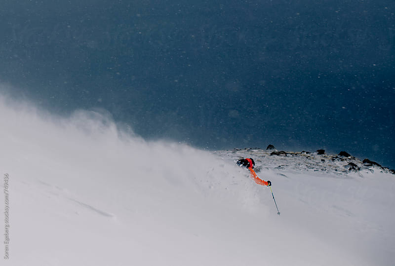 Bad weather skiing in snow storm by Soren Egeberg for Stocksy United