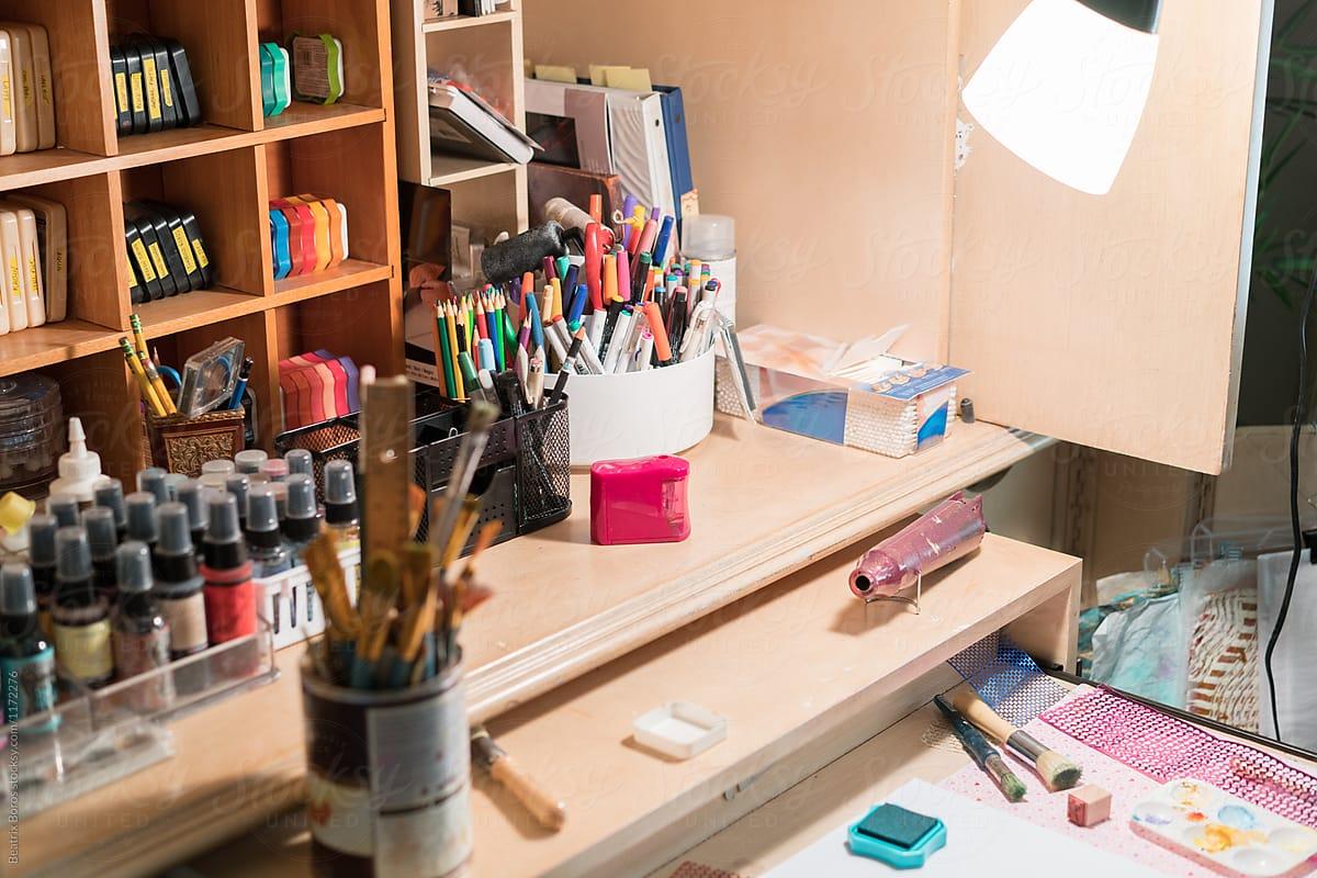 Messy Artist Desk By Beatrix Boros Desk Messy Stocksy United