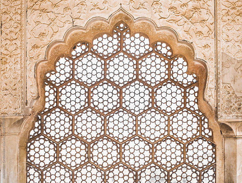 Ornate Window in Amber Fort by Alexander Grabchilev for Stocksy United