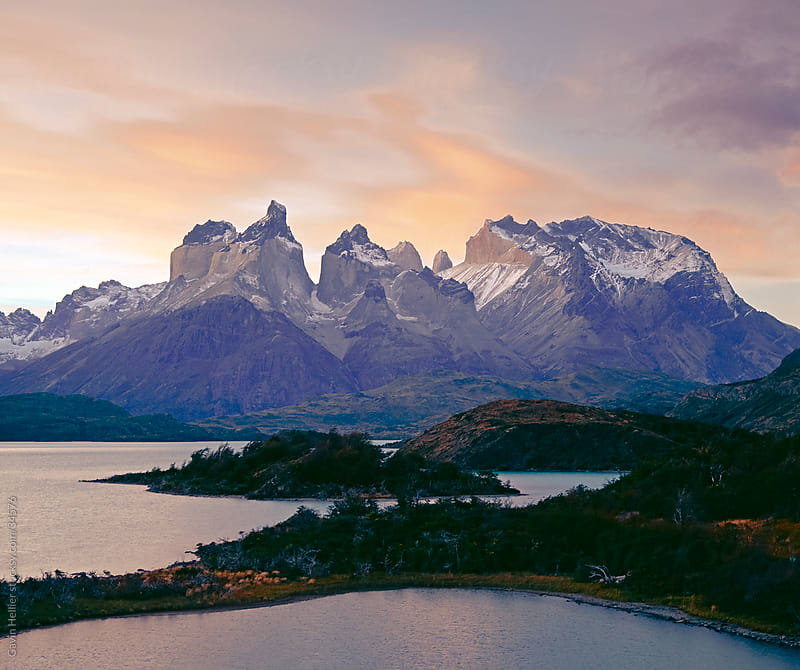 Cuernos del Paine rising up above Salto Grande, Torres del Paine National Park, Patagonia, Chile, South America by Gavin Hellier for Stocksy United