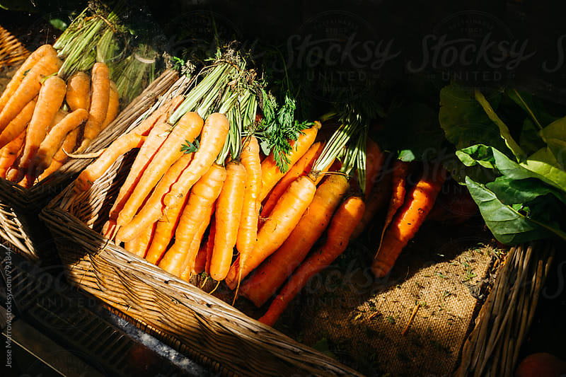 pile of carrots in basket  by Jesse Morrow for Stocksy United