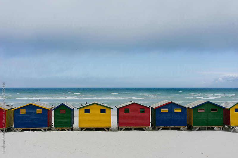 Muizenberg beach huts by Bruce and Rebecca Meissner for Stocksy United