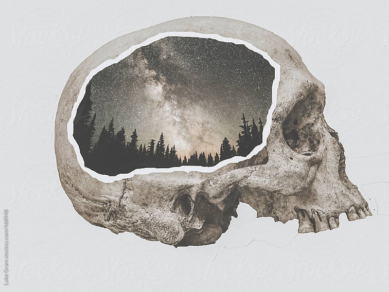 Design of a skull with a landscape inside by Luke Gram for Stocksy United