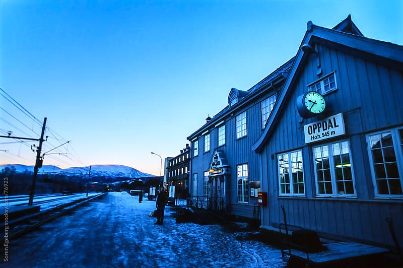Mountain village train station in winter  by Soren Egeberg for Stocksy United