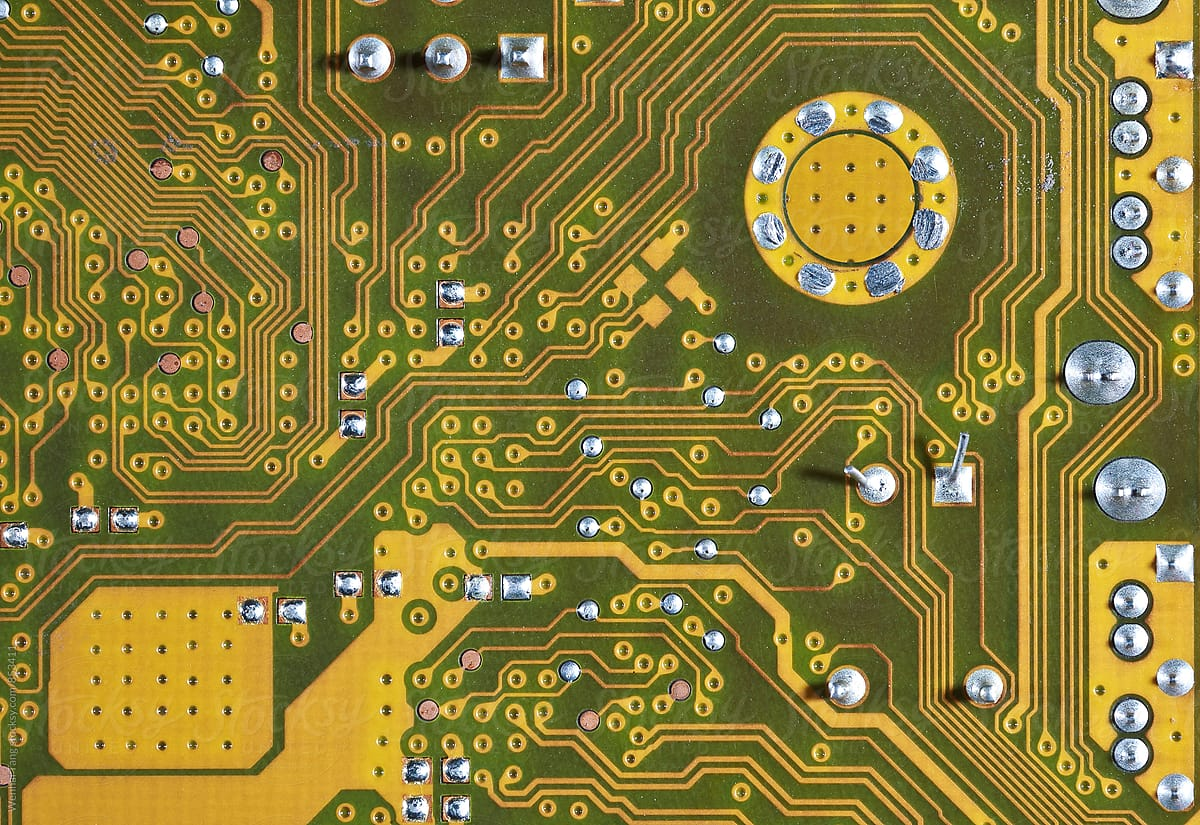 Gold Circuit Board Background Of Computer Motherboard Stocksy United Components Find By Wenhai Tang For