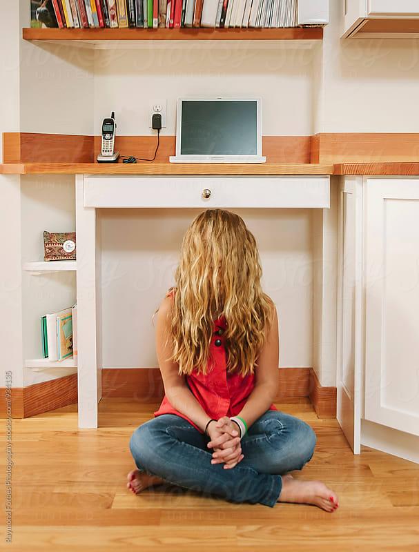 Teen Girl Hidden behind Hair by Raymond Forbes LLC for Stocksy United