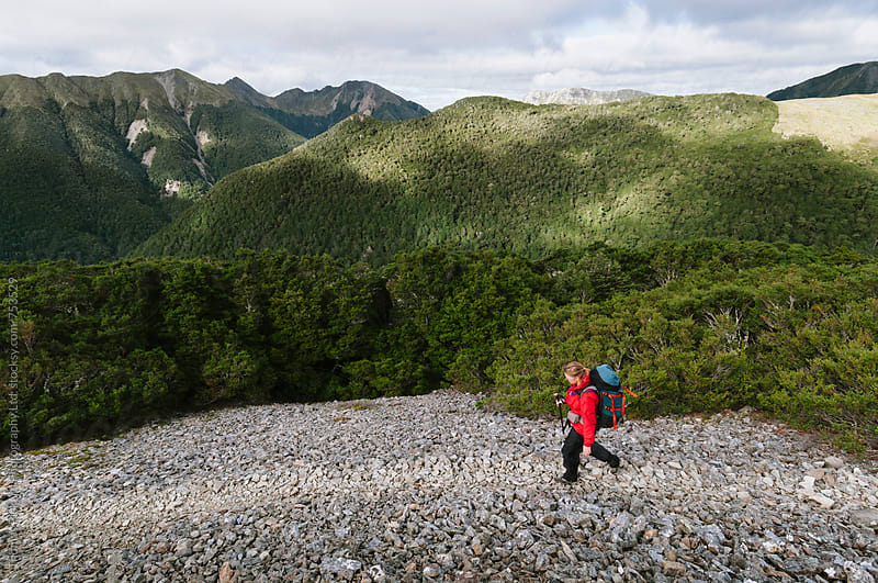 Woman trekker, Kahurgani National Park, New Zealand. by Thomas Pickard for Stocksy United