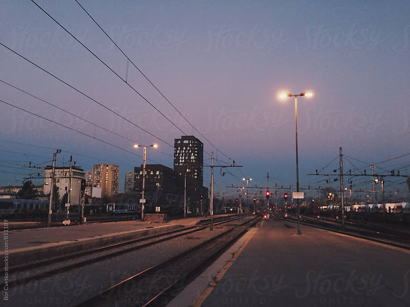 Railway station in the evening by Bor Cvetko for Stocksy United
