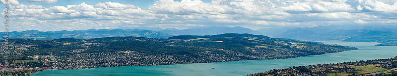 Panoramic view over Zurich, Switzerland by Borislav Zhuykov for Stocksy United