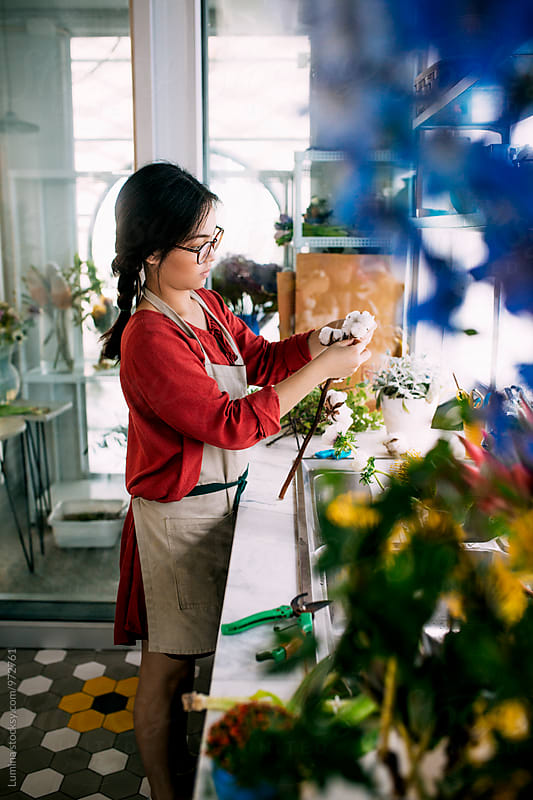 Florist Making a Flower Bouquet
