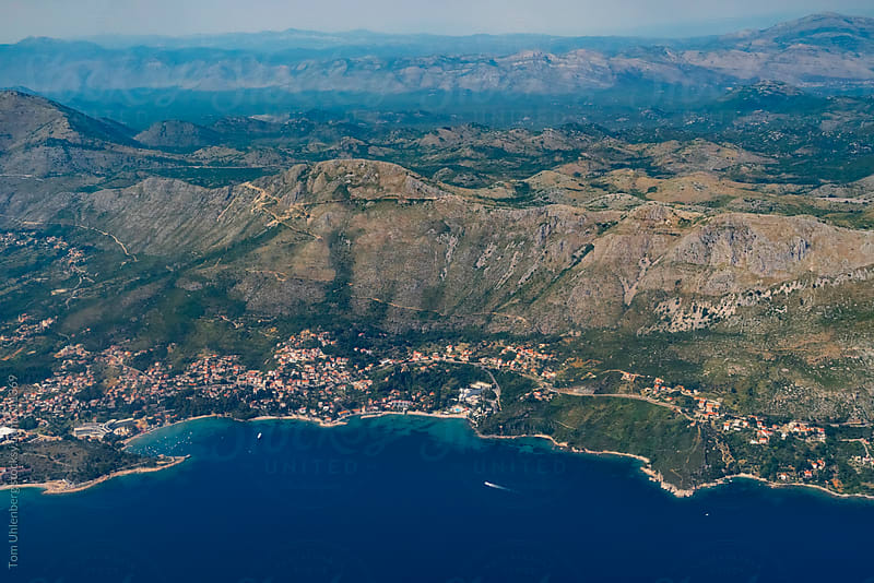 Aerial View of the Adriatic Coast near Dubrovnik, Croatia by Tom Uhlenberg for Stocksy United