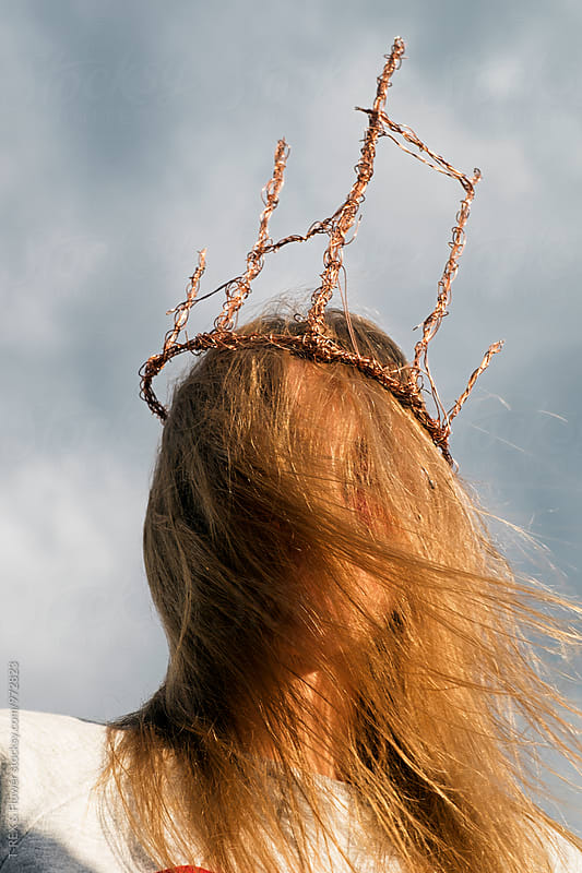 Close-up of unrecognizable woman in handmade wire crown by T-REX & Flower for Stocksy United