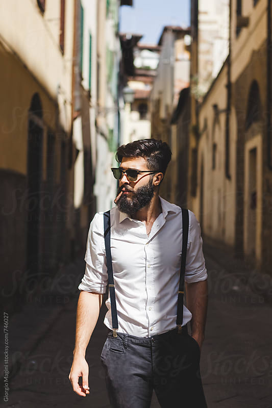 Old Fashioned Italian Mobster Looking for Someone in Town by Giorgio Magini for Stocksy United