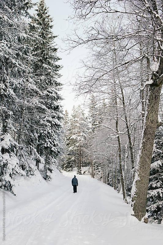 Man Walking Down Snowy Road by Stephen Morris for Stocksy United