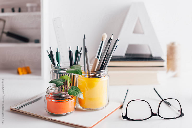Diy pencil holder jars on a cute white home desk by Diy pencil holder for desk