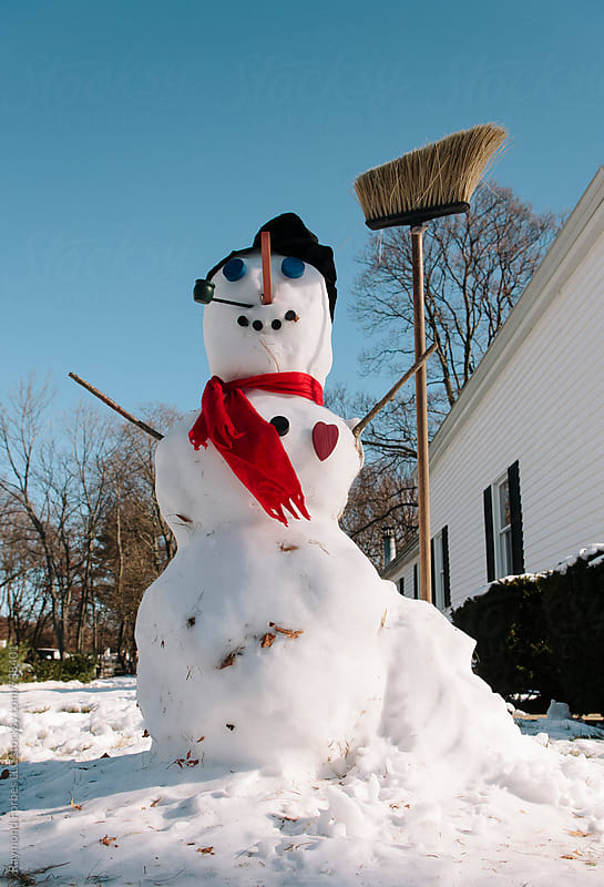 Snowman in Suburban Neighborhood by Raymond Forbes LLC for Stocksy United