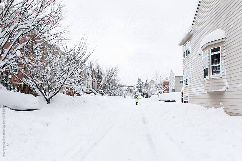 Neighborhood buried in snow after storm by Kerry Murphy for Stocksy United