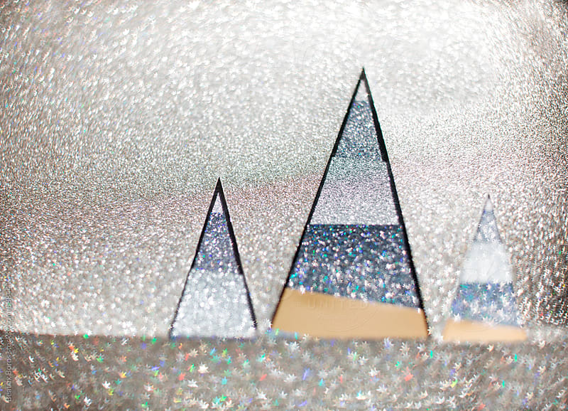 3 striped glitter triangles with copyspace by Beatrix Boros for Stocksy United