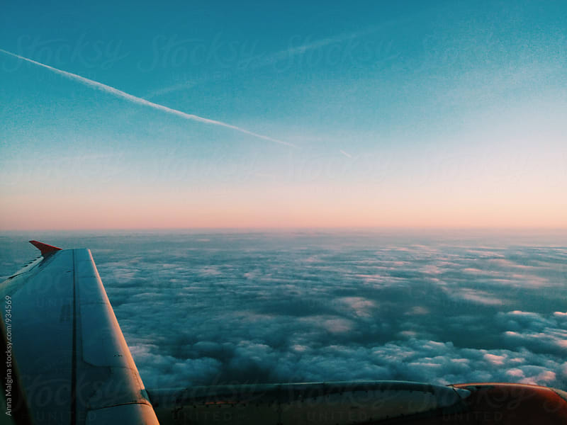 A view from plane window to the sky by Anna Malgina for Stocksy United