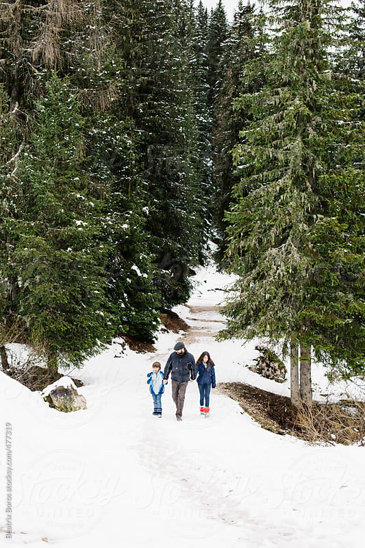 Family coming back from the forest in Winter by Beatrix Boros for Stocksy United