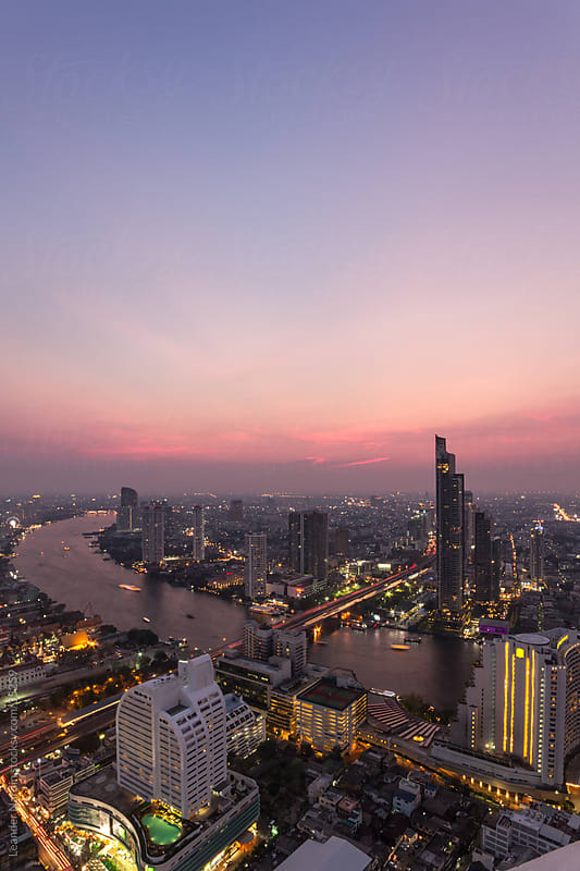 bangkok sunset by Leander Nardin for Stocksy United