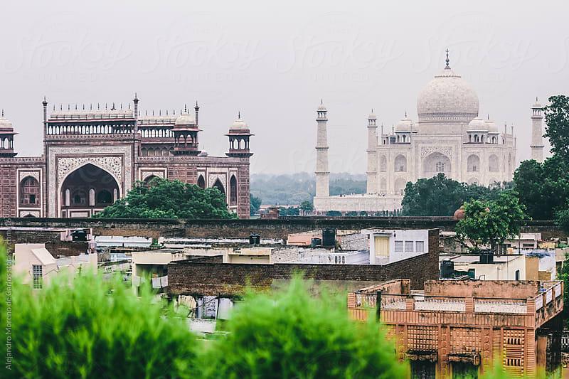 Taj Mahal palace and rooftops, Agra, India travel image by Alejandro Moreno de Carlos for Stocksy United