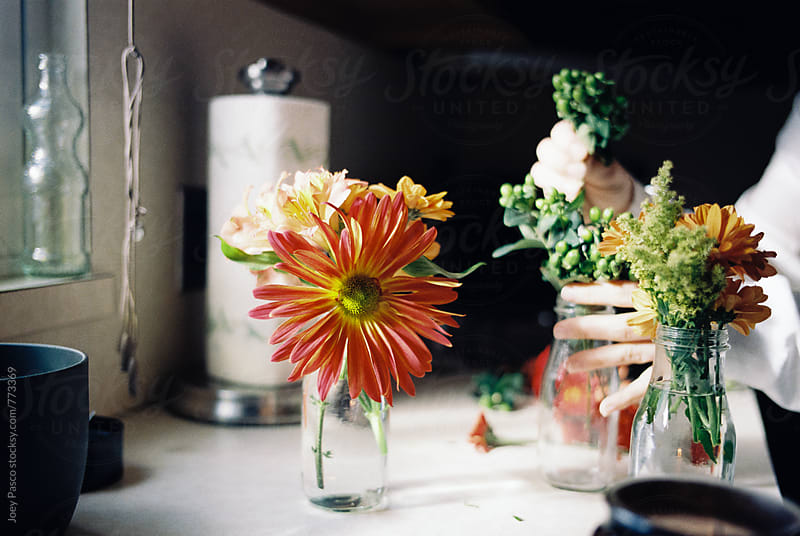 Person making flower arrangements in a window-lit kitchen by Joey Pasco for Stocksy United