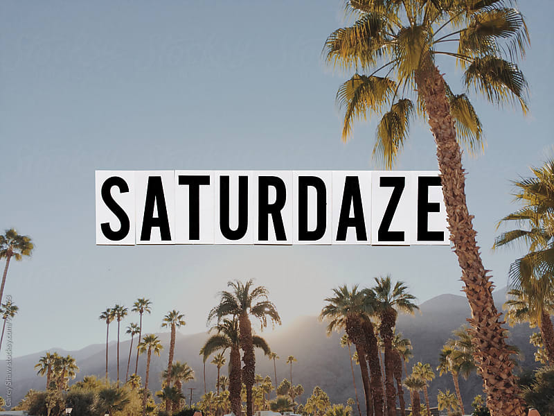 Saturdaze phrase with block letter over image of California by Carey Shaw for Stocksy United