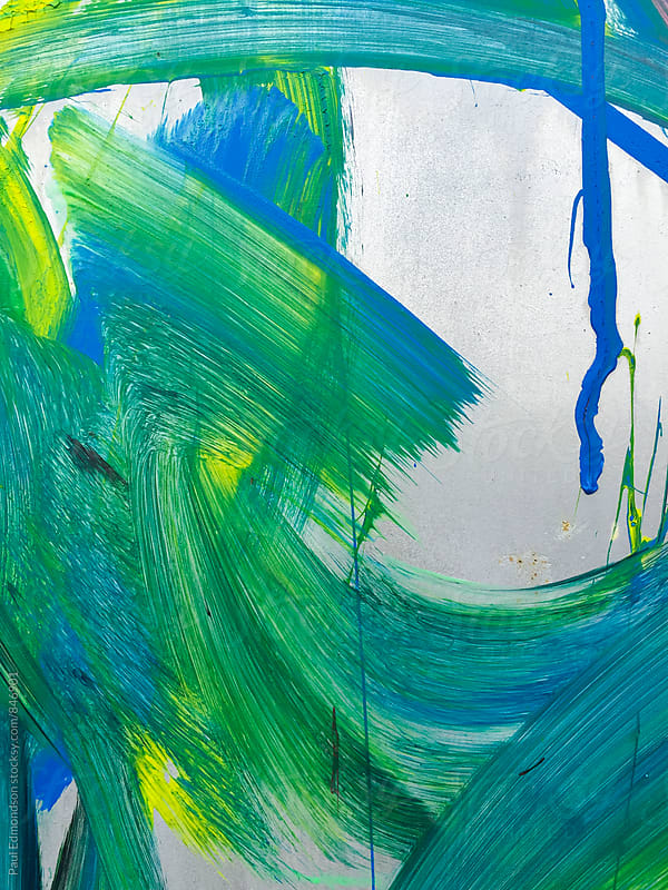 Close up of colorful graffiti paint on wall by Paul Edmondson for Stocksy United