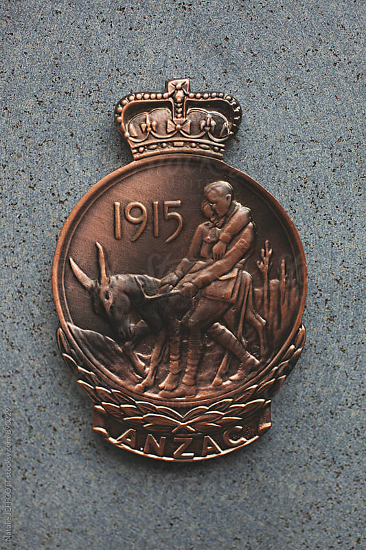 Close up of Anzac Medallion from the war by Natalie JEFFCOTT for Stocksy United