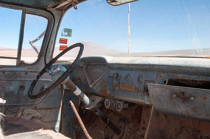 Interior shot of an abandoned truck. by Mike Marlowe for Stocksy United
