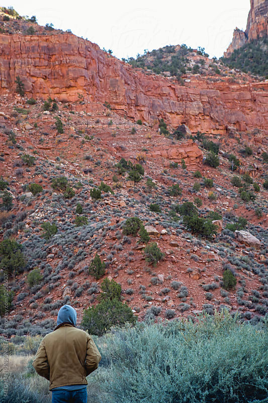 Man in Hoodie Looks over Red Rock Peaks by MEGHAN PINSONNEAULT for Stocksy United