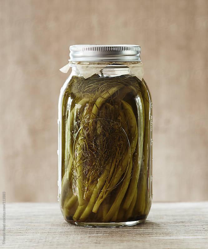 Still Life of mason Jar full of fermented green bean vegetables by Trinette Reed for Stocksy United
