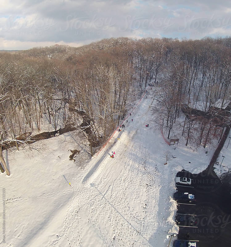 Aerial Photo of People Sledding on Hill in Wooded Area by Brian McEntire for Stocksy United