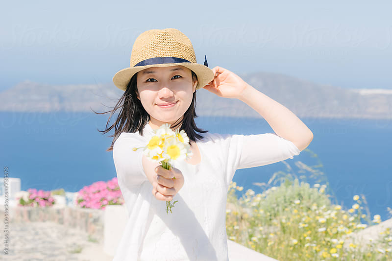 Beautiful chinese girl in Santorini by Maa Hoo for Stocksy United