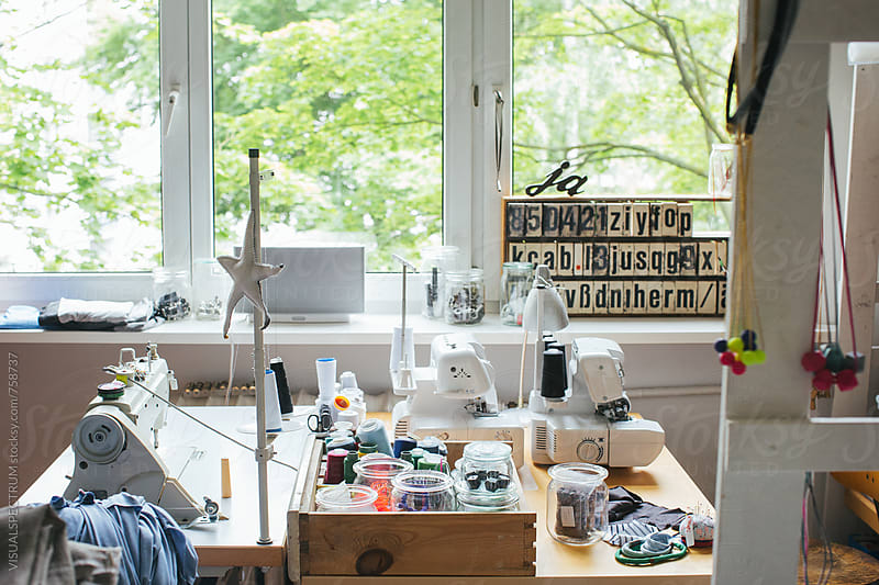 Work Station in Bright Sewing Atelier by VISUALSPECTRUM for Stocksy United