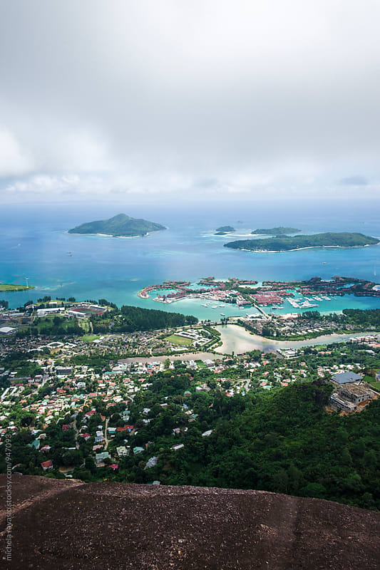 Aerial view of Victoria city, Mahé Island, Seychelles by michela ravasio for Stocksy United