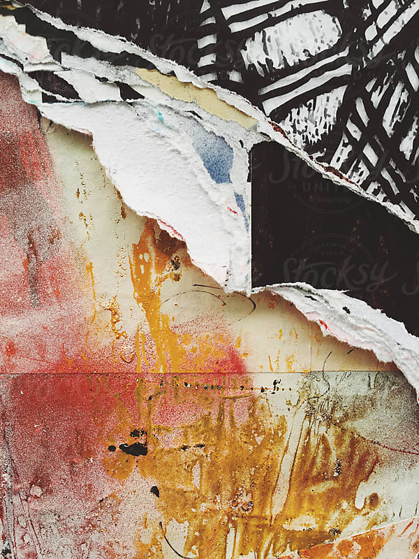 Peeling poster art and graffiti, close up by Paul Edmondson for Stocksy United
