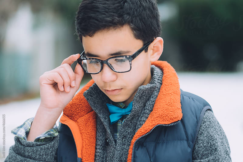 Stylish Tween Mixed Race Boy With Glasses by Kelli Seeger Kim for Stocksy United