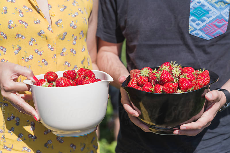 Couple with freshly picked strawberries in containers by Lior + Lone for Stocksy United