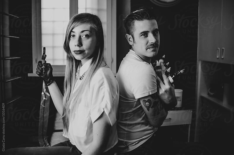 Portrait of two tattoo artist by Giada Canu for Stocksy United