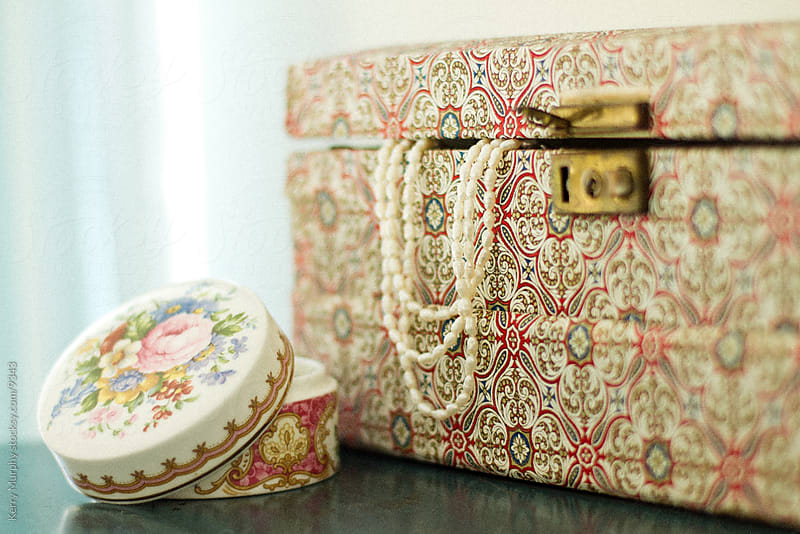 Vintage jewelry box and pearls by Kerry Murphy for Stocksy United