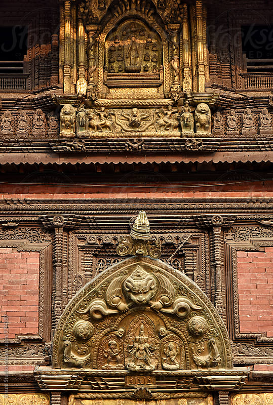 Detail of a main entrance in Durbar Square's palace, Patan by Bisual Studio for Stocksy United