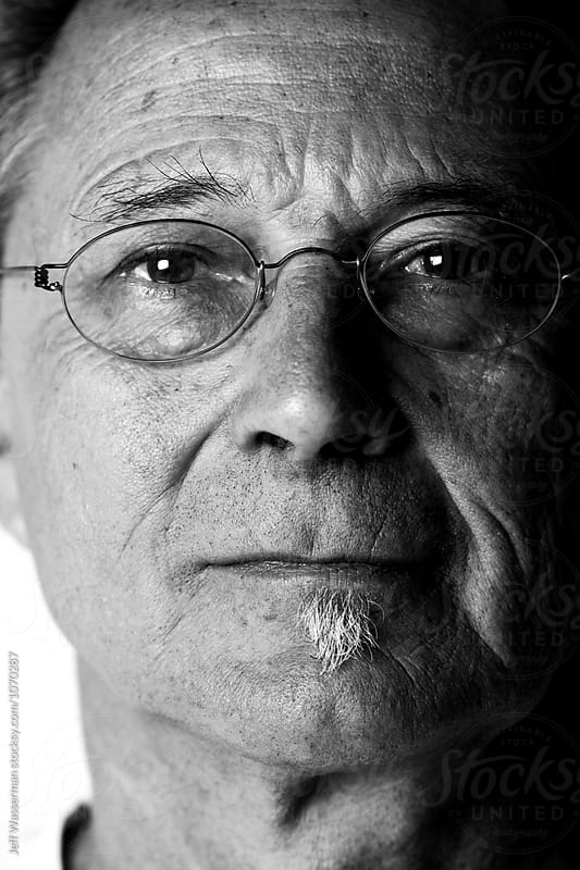 Senior Man Portrait in Black and White by Jeff Wasserman for Stocksy United