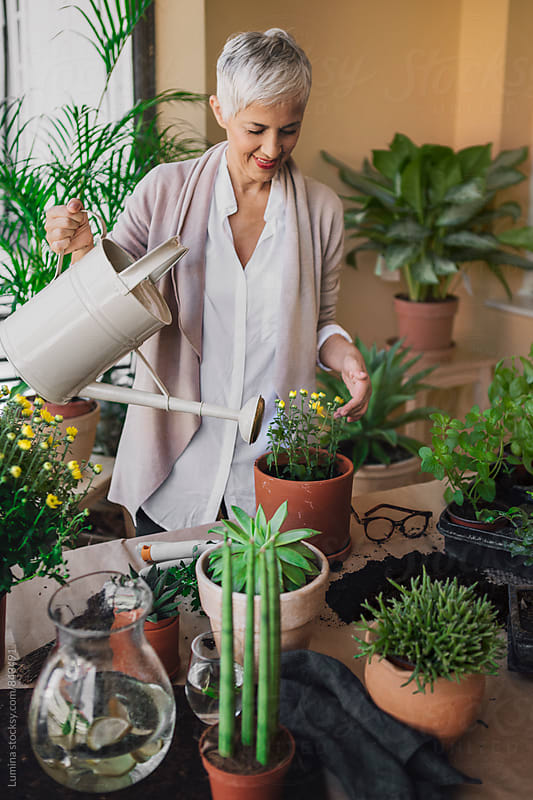 Woman Watering Potted Flowers by Lumina for Stocksy United