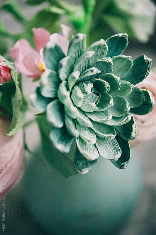 Delicate paper flowers bouquet with succulents by Adrian Cotiga for Stocksy United