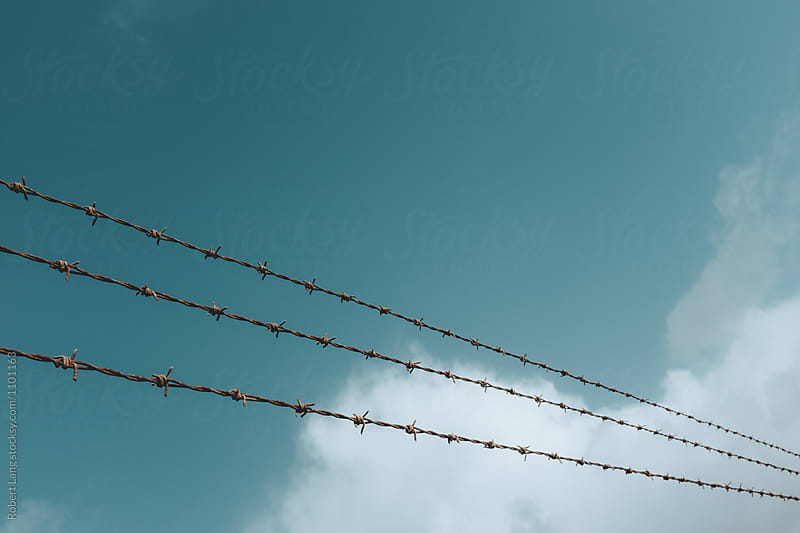 Barbed wire and sky by Robert Lang for Stocksy United